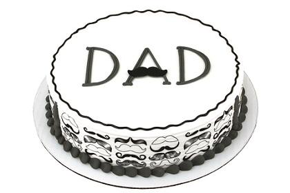 Dad's Mustache Dec-Ons® With Mustache Designer Prints™ Cake